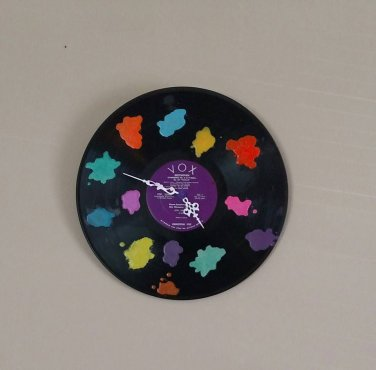 Melted Crayon Splatter Record Clock
