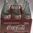 Coke Coca Cola 32 ounce Glass Bottle 6 pack in Plastic 6 pack Carrier w/ caps