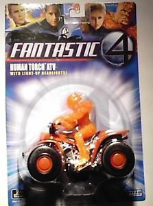 Marvel Comics Fantastic Four Johhny Storm Human Torch figure on Motorcycle MOC