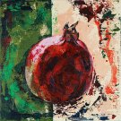 Modern original acrylic painting fresh fruit pomegranate abstract still life-new