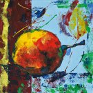 Modern original acrylic painting fresh fruit pear abstract still life