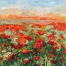 Modern original acrylic painting sunset over poppy field-new