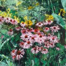 Modern original acrylic painting of flowers health-echinacea