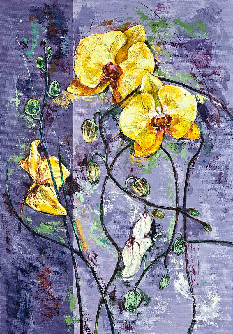 Modern original wall art acrylic painting orchid flowers abstract still life-new