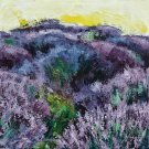Modern original wall art acrylic painting lavender flowers field plantations abstract-new