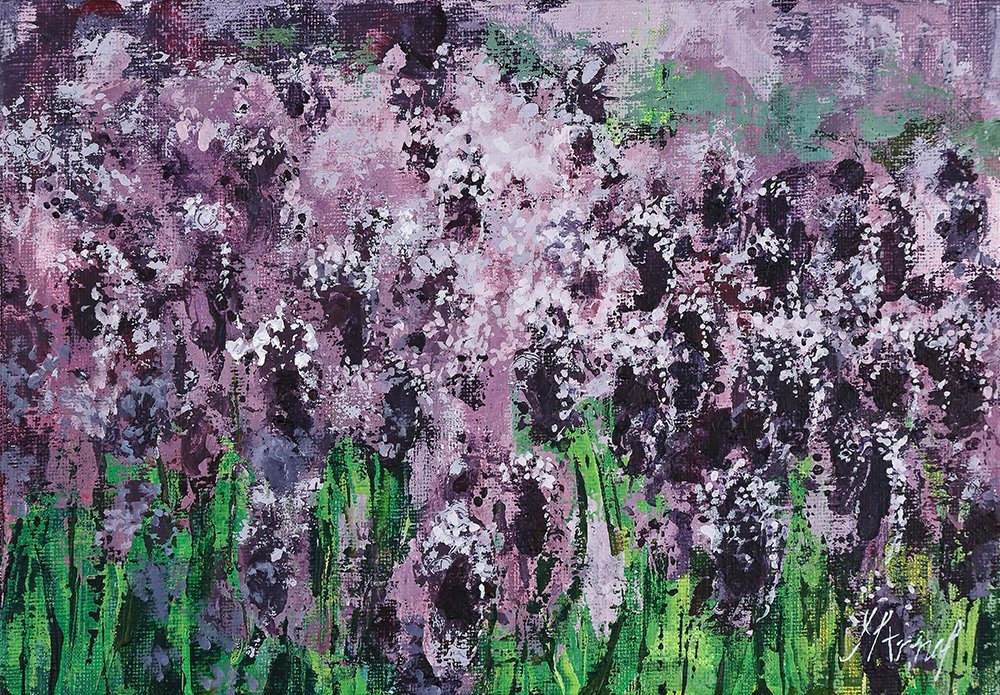 Modern original wall art acrylic painting lavender flowers landscape-new