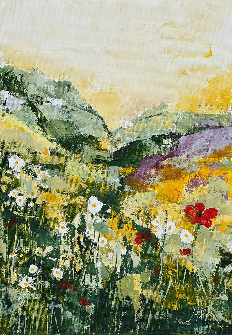 Modern original wall art painting daisies poppies field flowers landscape-new