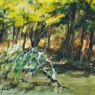 Original oil painting river in summer landscape sun reflection nature water-new