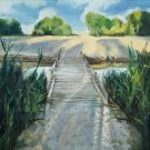 Original oil summer landscape wooden bridge river water reflection sunset beach-new