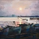 Original oil painting sea sunset boats seascape pier sun reflection realism-new
