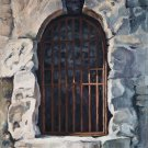 Original oil painting ancient architecture old door arch fragment stone ruins