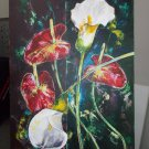 Modern original wall art acrylic painting red and white flowers abstract still life-new