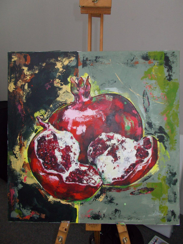 Modern original acrylic painting fresh split pomegranate abstract still life