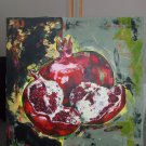 Modern original acrylic painting fresh split pomegranate abstract still life