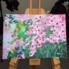 Modern original acrylic painting of garden with flowers health-echinacea