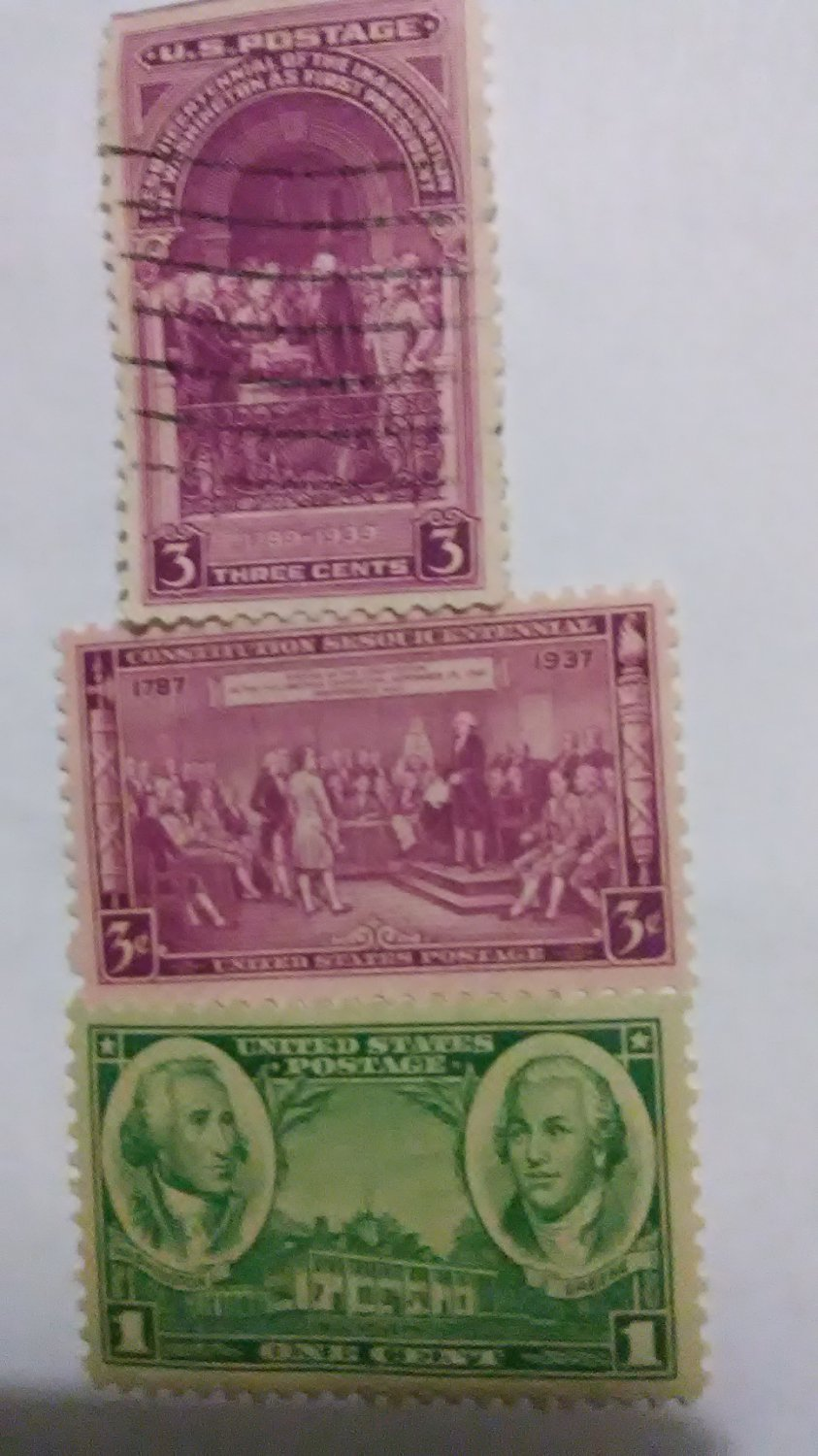 Washington 3 cent ,2 cent,and 1 cent stamps