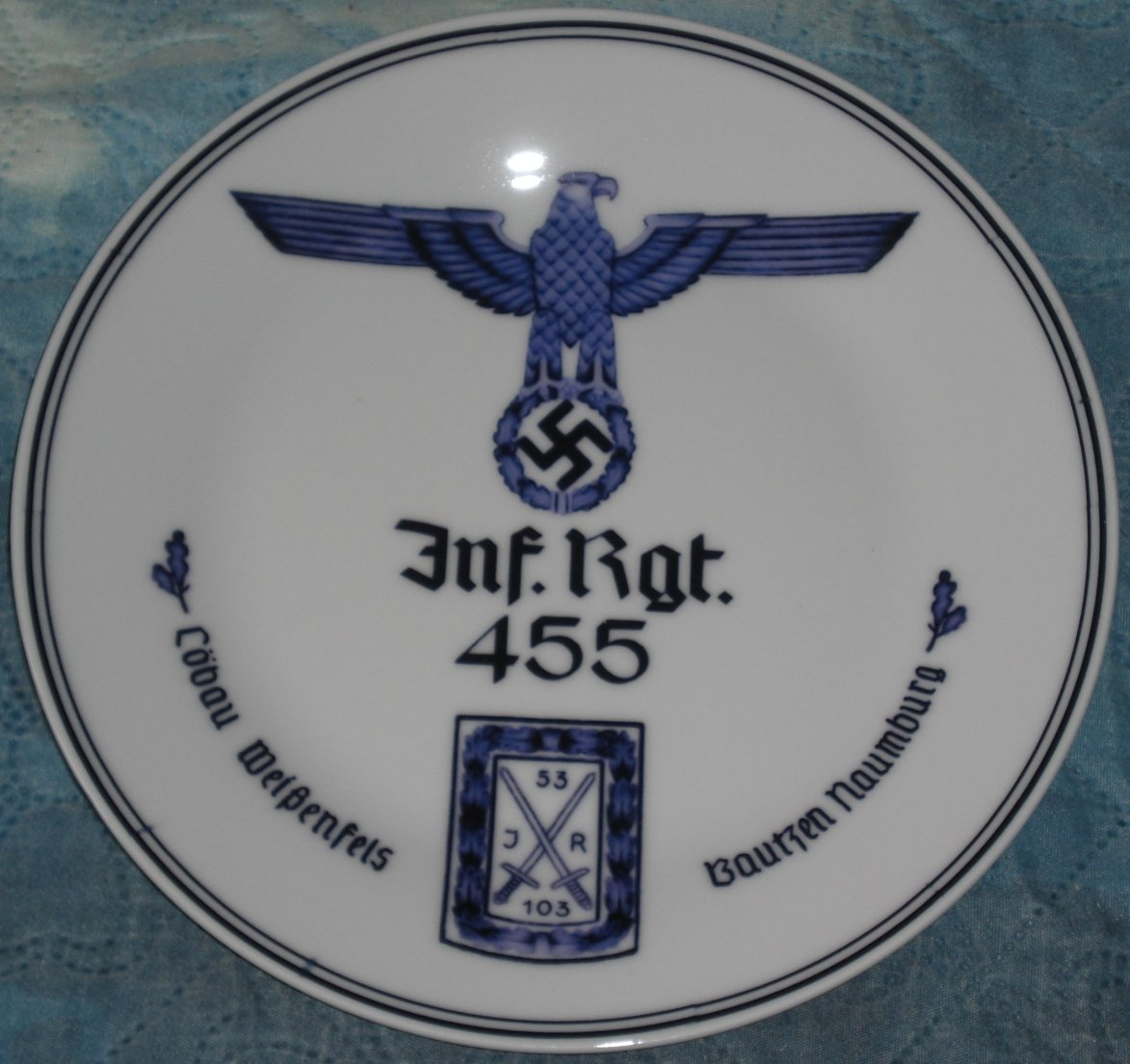 Germany. Porcelain regimental plate with underglaze pattern. Infantry. Brand. Mark.