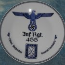 Germany. Porcelain regimental plate with underglaze pattern. Infantry. Brand. Mark.