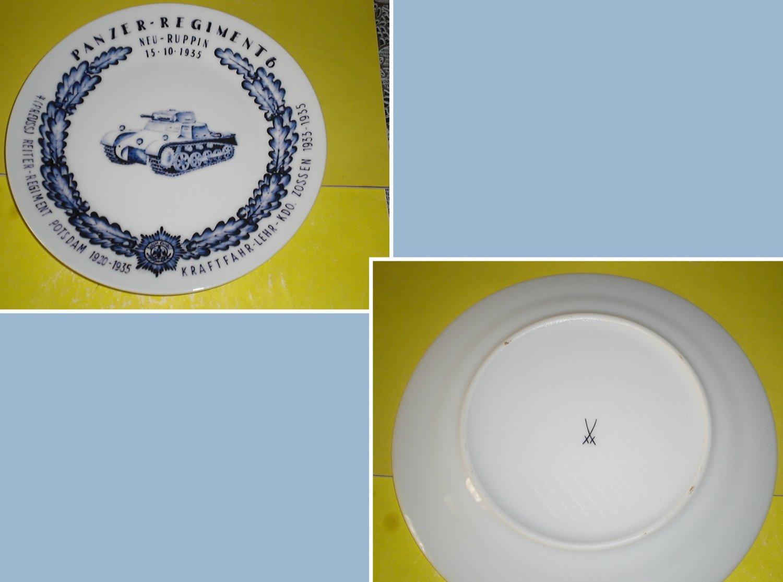 Porcelain regimental plate with underglaze pattern. Panzer. Trademark Meissen.