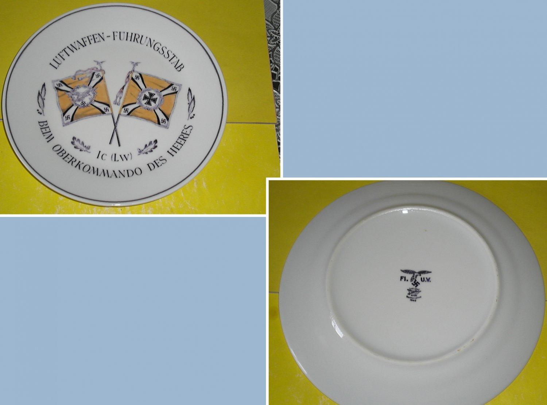 Germany. Porcelain plate with underglaze pattern. Luftwaffe. Brand. Mark.