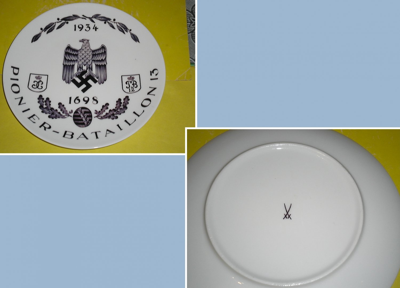 Porcelain plate with underglaze pattern. Pioneers. Trademark Meissen.