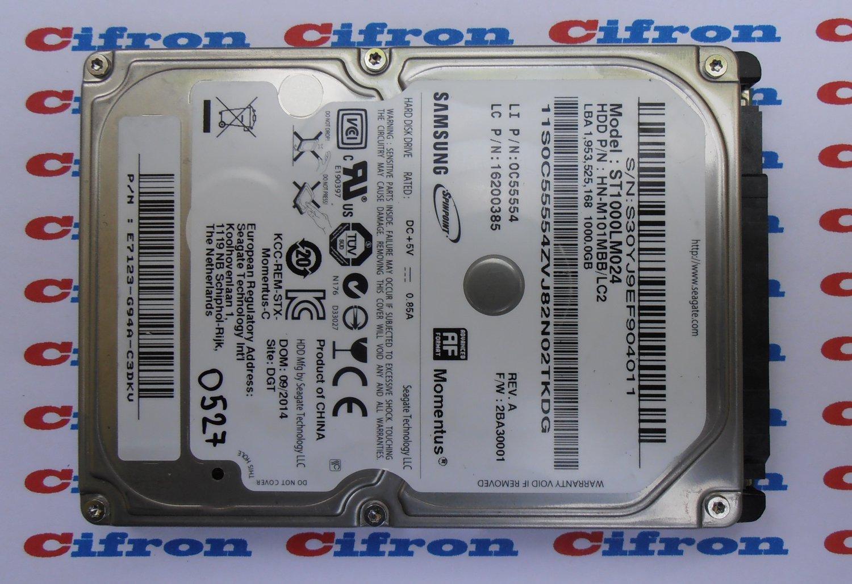 """HDD Samsung ST1000LM024 HN-M101MBB/LC2 2BA30001 1Tb 2.5"""" SATA 0527 Donor Drive"""