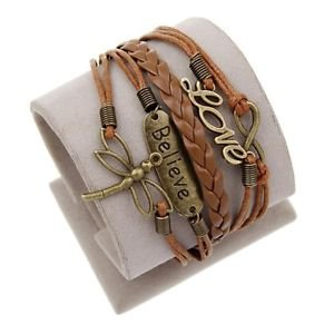 BROWN LEATHER CHARM BRACELET-UNISEX