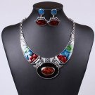 Vintage Silver Jewelry Set Enamel Hign Quality Choker Chain Pendant