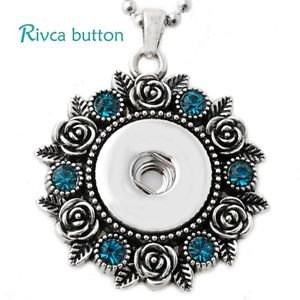 Blue Crystal Snap Button Pendant