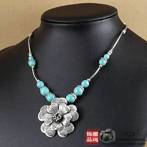 Tibetan Turquoise Flower Necklace