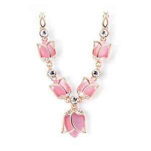 Rose Gold Plated Created Pink/Beige Opals Rhinestone Tulips Necklaces