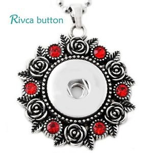 Red Crystal Snap Button Pendant
