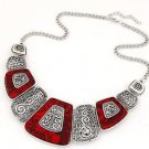 Red Bohemian Choker Necklace - USA Shipping