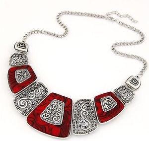 Red Bohemian Choker Necklace - USA Shipping