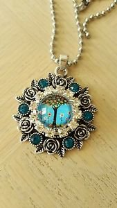 Blue Crystal Snap Button Pendant - USA Shipping