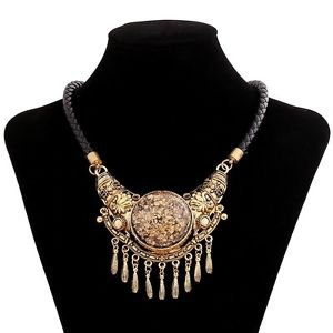 bohemian big gem tassel collar choker