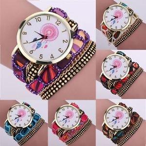 Dream Catcher Chimes Crystal Rivet Bracelet Braided Wrap Quartz WristWatch