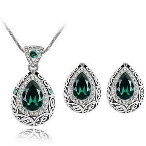 Classic Indian Antique Silver Plated Water Drop Crystal Rhinestone Jewelery Set