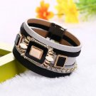 Square Gem Crystal Rhinestone Magnetic Leather Bracelet