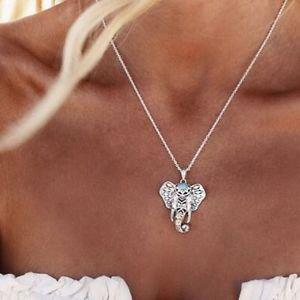 Boho Silver Elephant Head Choker