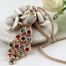 Rhinestone Peacock Long Design Pendant Necklace