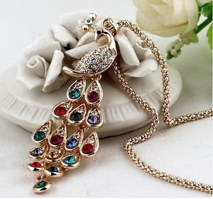 Rhinestone Peacock Long Design Pendant Necklace