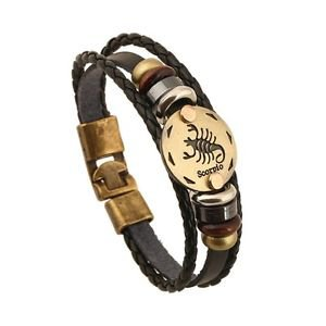 LEATHER AND GOLD ZODIAC BRACELET-Scorpio