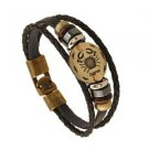 LEATHER AND GOLD ZODIAC BRACELET-Cancer