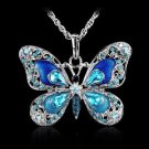 Silver And Blue Butterfly Necklace