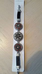 3 Snap Button Silver/Leather Bracelet - USA Shipping