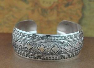 Tibetan Silver Square Flower Cuff Bangle
