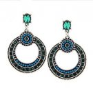 Large Bohemian Blue Green Ethnic Earrings