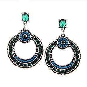 Large Bohemian Blue Green Ethnic Earrings