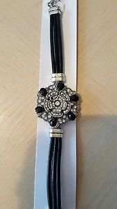 Snap Button Black Leather Charm Bracelet - USA Shipping